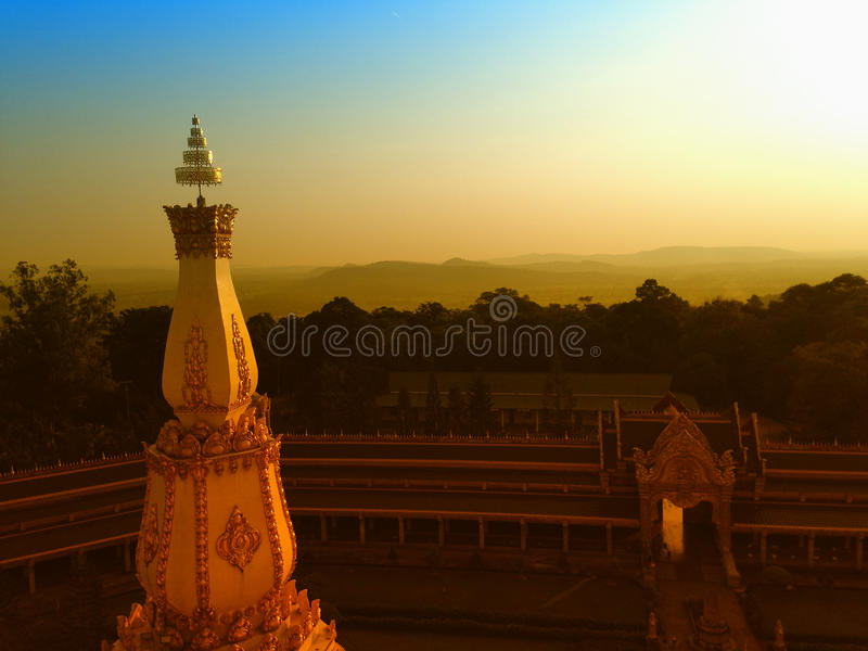 View of the sunset at Wat Pha Nam Thip Thap Prasit Wanaram, Thai temple in Roi Et province, Thailand. (public places. ) twilight time royalty free stock photos