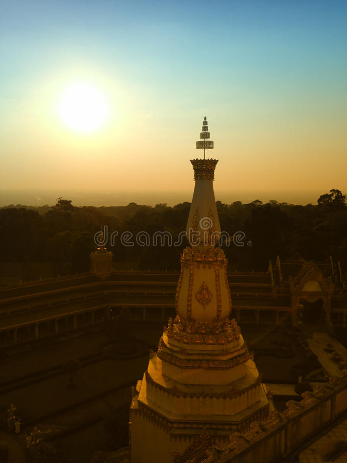 View of the sunset at Wat Pha Nam Thip Thap Prasit Wanaram, Thai temple in Roi Et province, Thailand. (public places). Twilight time royalty free stock images