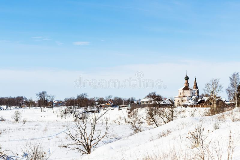 view of Suzdal with Holy Cross Church in winter stock image