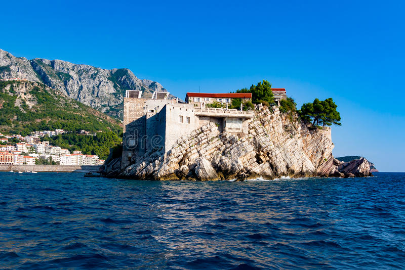 View of Sveti Stefan (St Stephan) stock photography