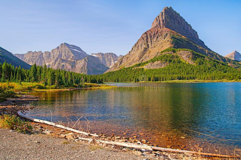 View of Swiftcurrent Lake from Grinnell Glacier Trail.Glacier National Park royalty free stock image
