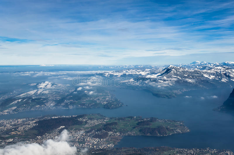 View of Switzerland. Magnificent panoramic view of Switzerland from mount Pilatus near Lucerne royalty free stock photography