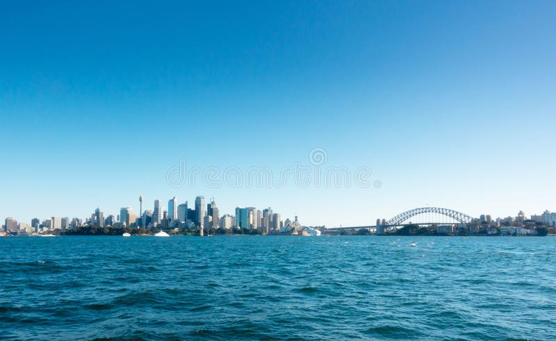 View of  Sydney CBD  from ferry royalty free stock image