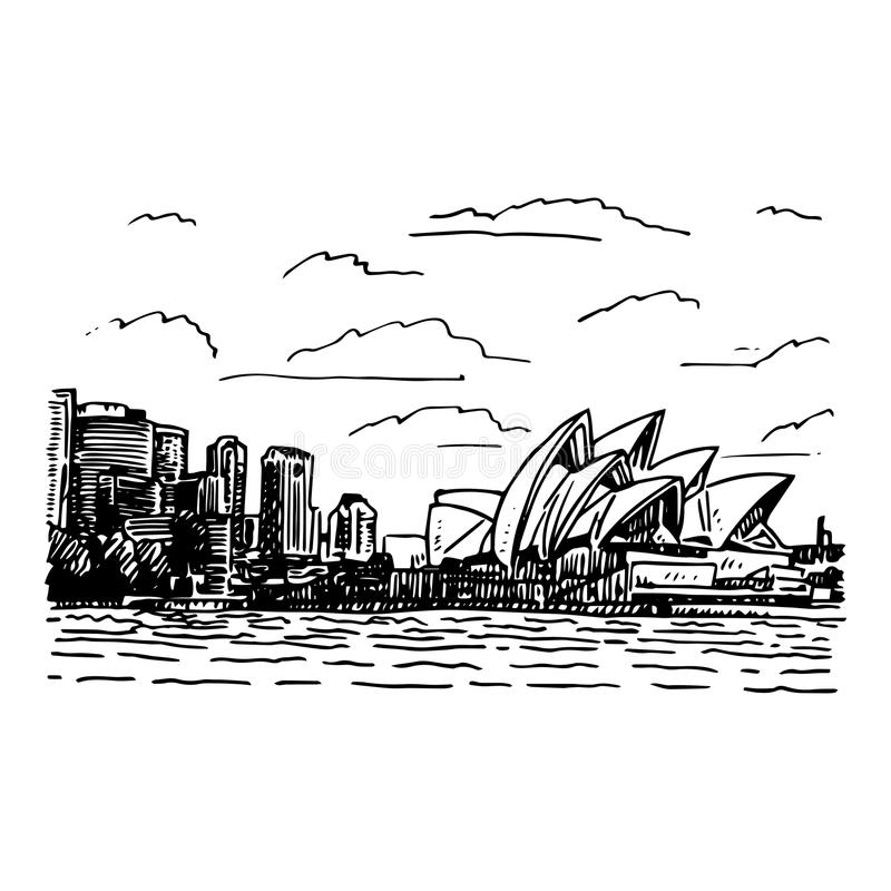 Download view of the sydney opera house australia stock vector illustration of outline