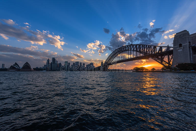 View of Sydney Opera House And Harbour Bridge Sydney Australia at sunset. FEB 13,2017 Sydney Opera House is modern building, well known worldwide royalty free stock photo