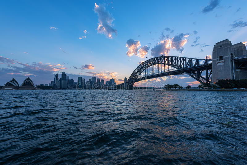 View of Sydney Opera House And Harbour Bridge Sydney Australia at sunset. FEB 13,2017 Sydney Opera House is modern building, well known worldwide royalty free stock photography