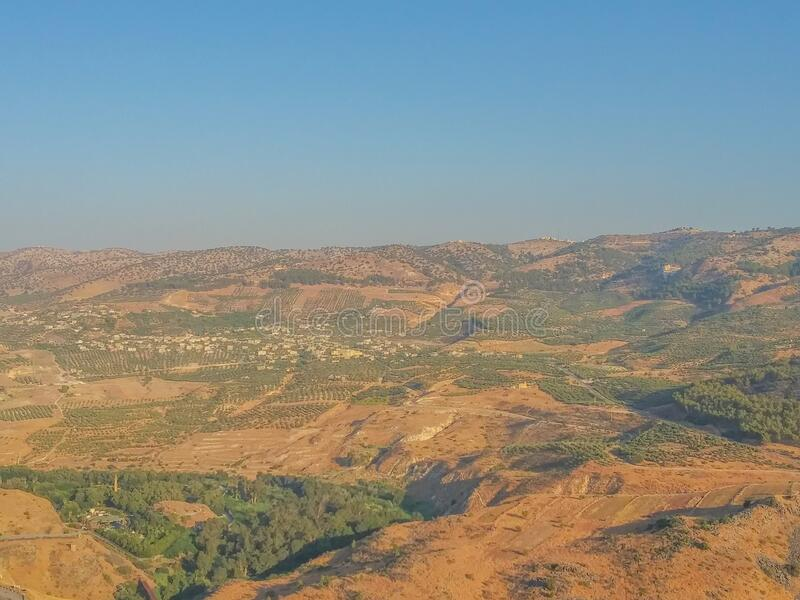 The view of Syrian Arab Republic, from the Golan Heights at the border of Israel.  royalty free stock photos