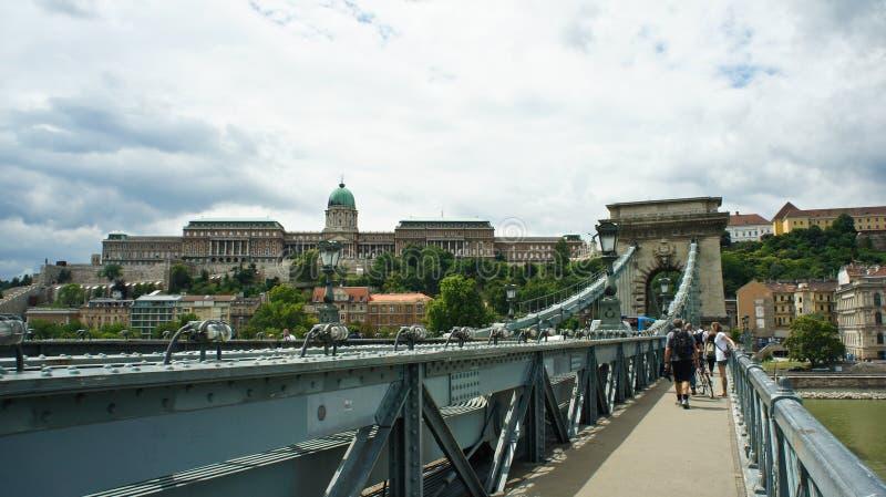 View of the Szechenyi Chain Bridge and Buda Castle, Royal Palace, Budapest, Hungary royalty free stock photos