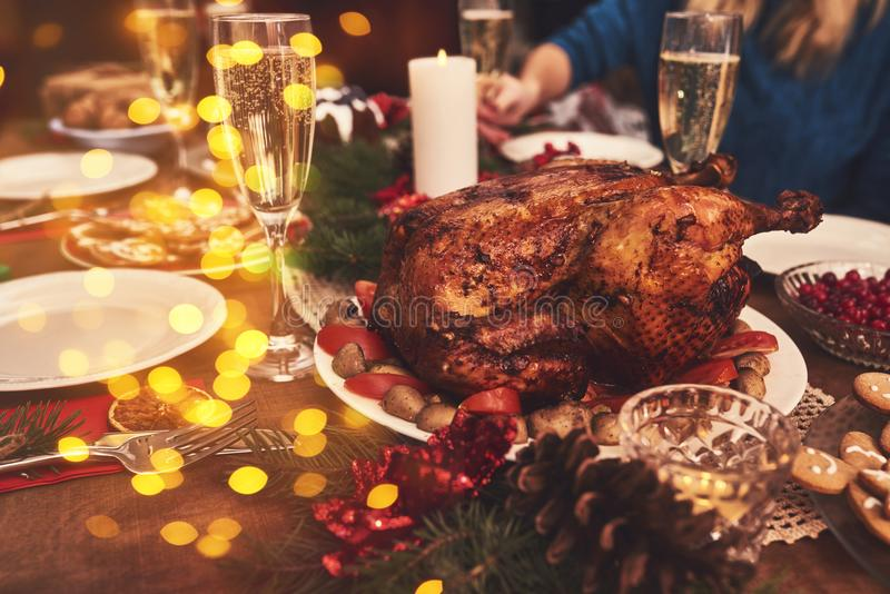 View of table served for Christmas family dinner. Table concept. View of table served for Christmas family dinner stock image