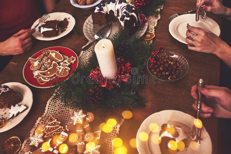 View of table served for Christmas family dinner. Table concept. View of table served for Christmas family dinner royalty free stock photography