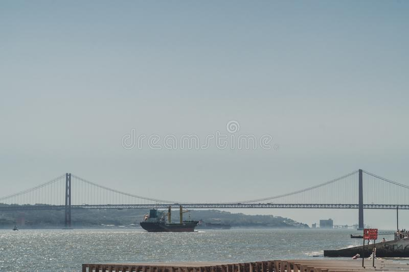 View of the Tagus River in Lisbon, Portugal. stock photo
