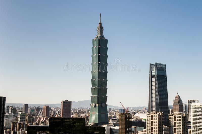 View of Taipei 101 world trade center building stock photos