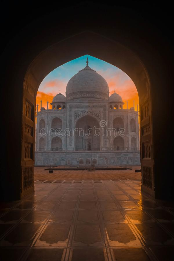 View of Taj Mahal from inside the Great Gate. royalty free stock images