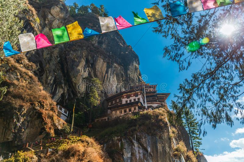 View of Taktshang Monastery Tiger`s Nest in the mountain of Paro, Bhutan royalty free stock images