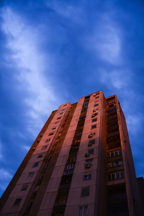 View a tall building in the residential part of Belgrade, Serbia. New Belgrade neighbourhood, blocks of council flats, in the spring / summer, Eastern Europe stock images