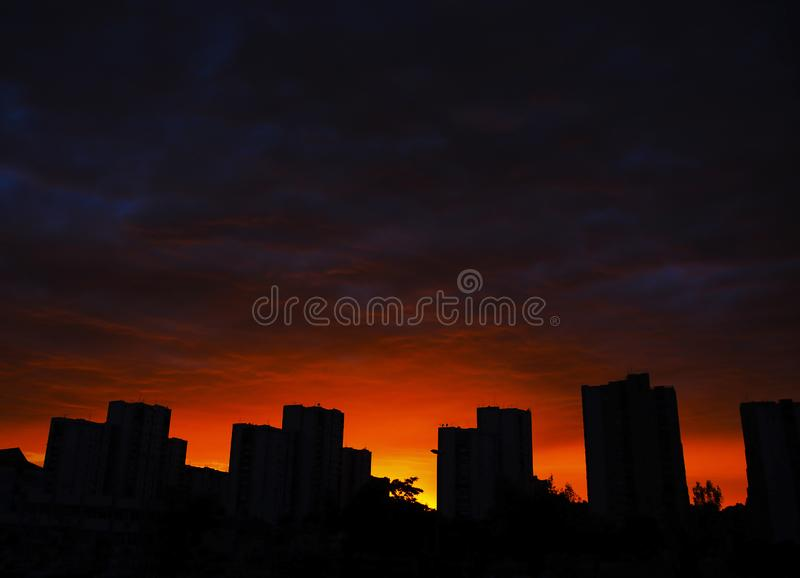 View a tall building in the residential part of Belgrade, Serbia. New Belgrade neighbourhood, blocks of council flats, in the sunset in the spring / summer royalty free stock photo