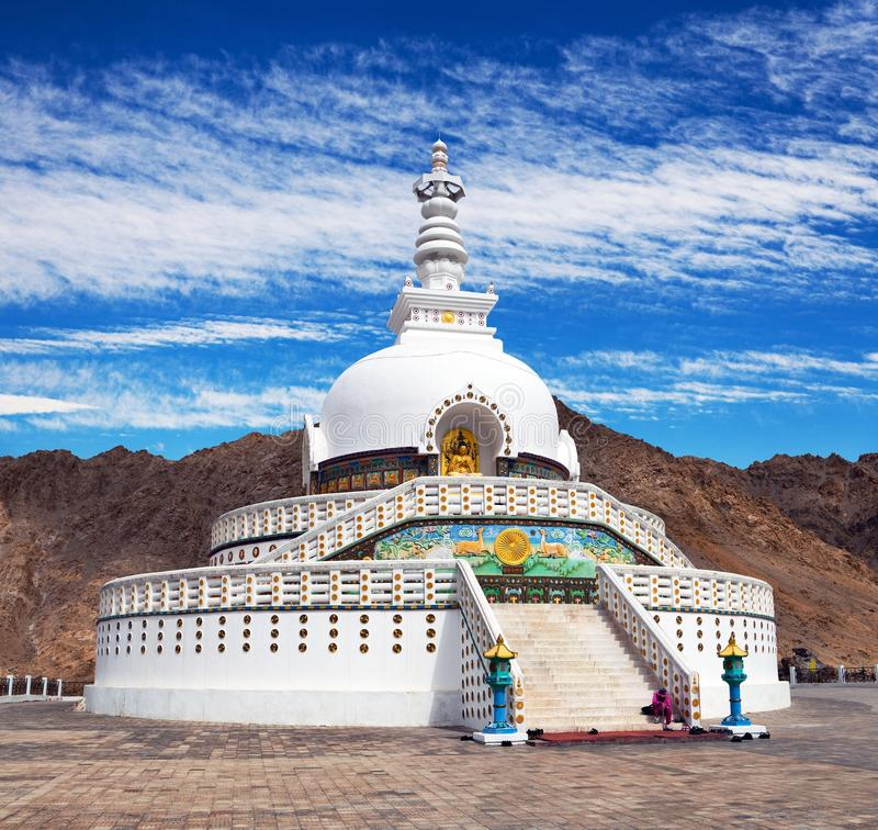 View of Tall Shanti stupa with beautiful sky, Leh, India. View of Tall Shanti stupa with beautiful sky, the big stupa in Leh and one fron the best buddhist stock images