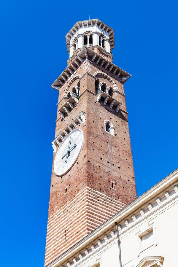 View of tall tower Torre dei Lamberti in Verona stock image
