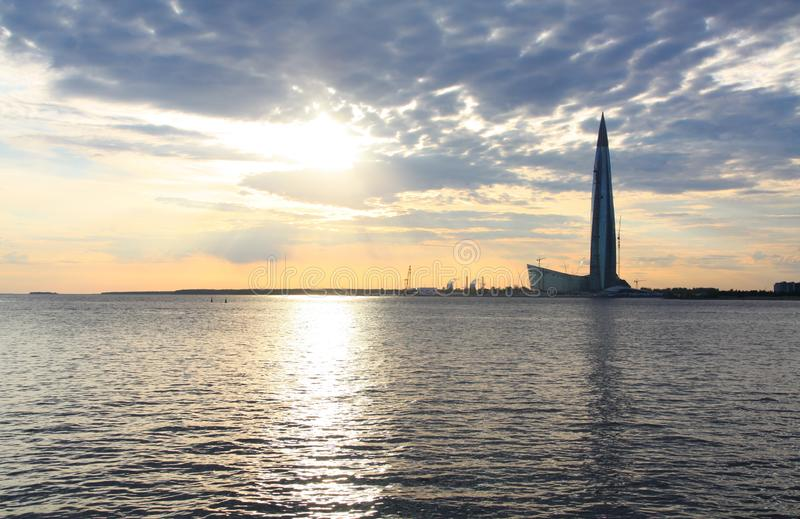 Lakhta Centre Gazprom headquarters skyscraper, Saint Petersburg, Russia at the sunset. Gulf of Finland. View of the tallest skyscraper in Europe in summer stock image