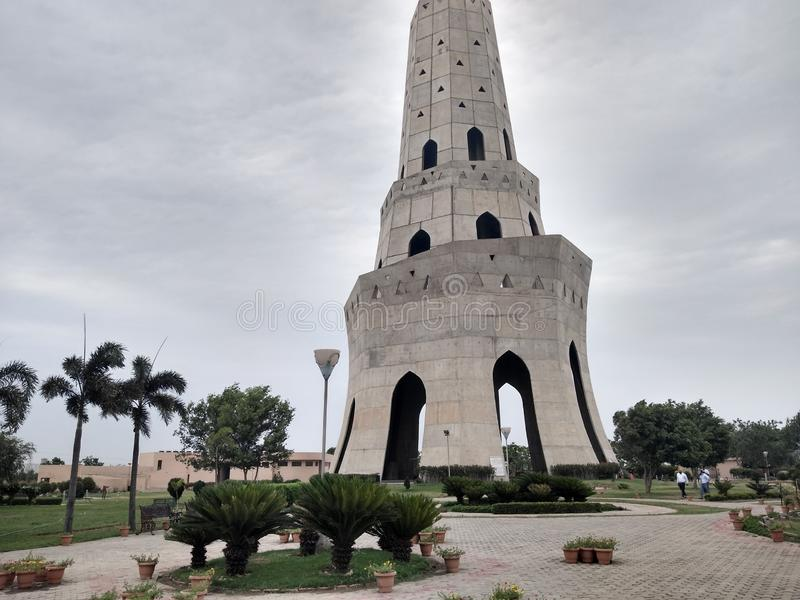 Fateh Burj - symbol of victory, Punjab, India. A view of the tallest victory tower in India after renovation. Well developed historical site situated at stock photos