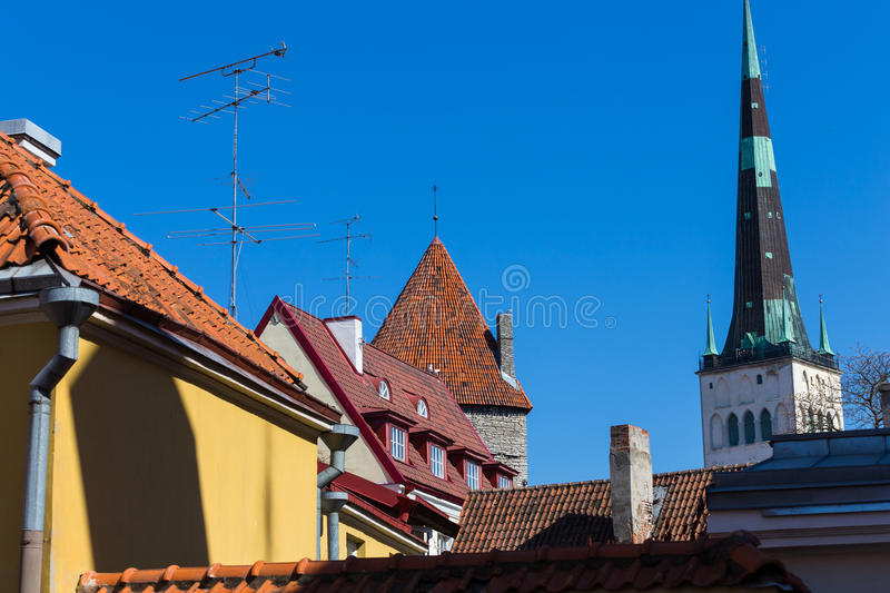 View on Tallinn beautiful red tile roofs stock photos