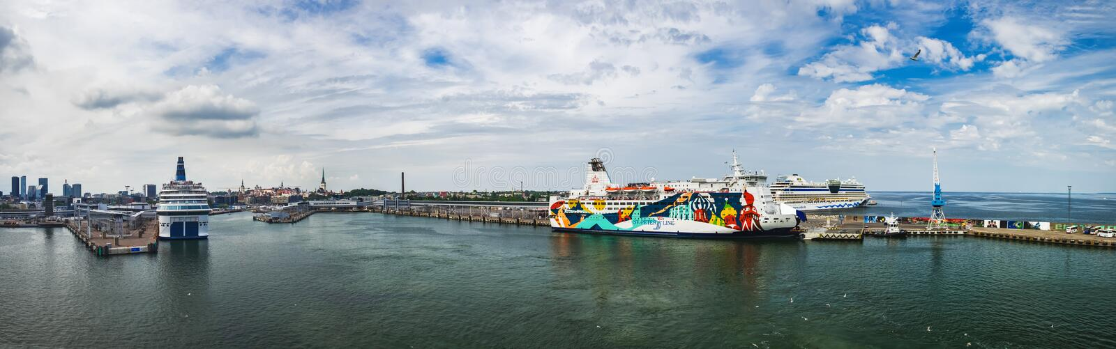 View of Tallinn harbor from the sea, Estonia. Tallinn, Estonia - July 24, 2018: View of Tallinn harbor from the sea in summer, Estonia. Tallink cruise ferry and stock images