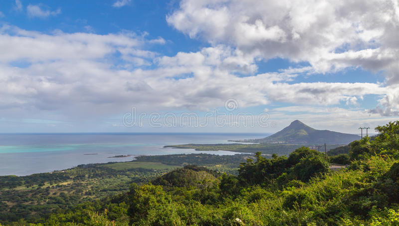 View on Tamarin Mauritius from Plaine Champagne royalty free stock photography