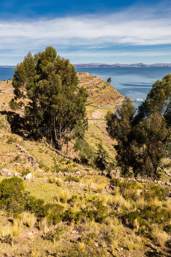 View of Taquile Island in Lake Titicaca in Peru royalty free stock image
