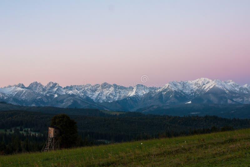 View of the Tatras from the village of Łapszanka. stock photos