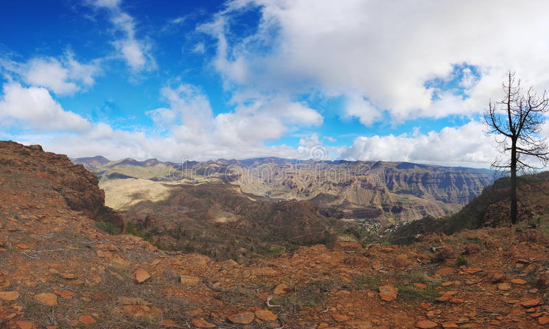 View from tauro summit to island of Gran Canaria. View from Tauro summit over the beautiful island of Gran Canaria royalty free stock image