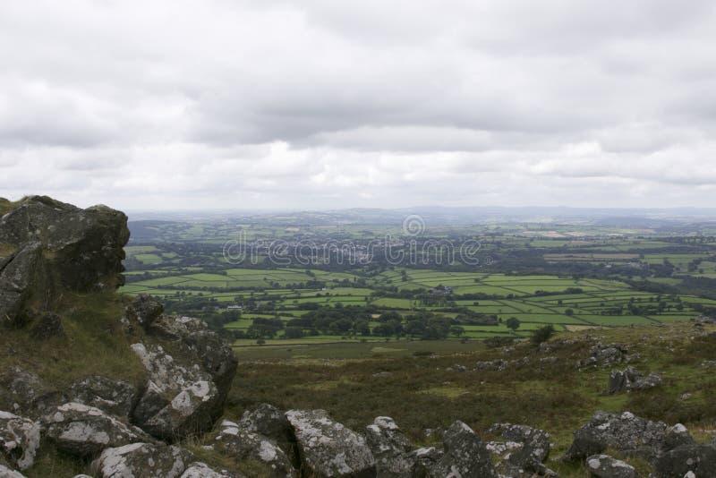 View of Tavistock from Dartmoor. National park stock photography