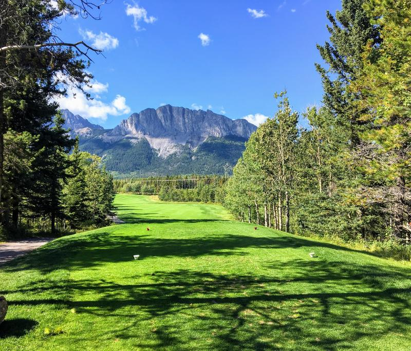 A view from the tee box looking down a tough par 4 lines with trees and the rocky mountains in the background. It is a beautiful sunny day playing golf in stock photos