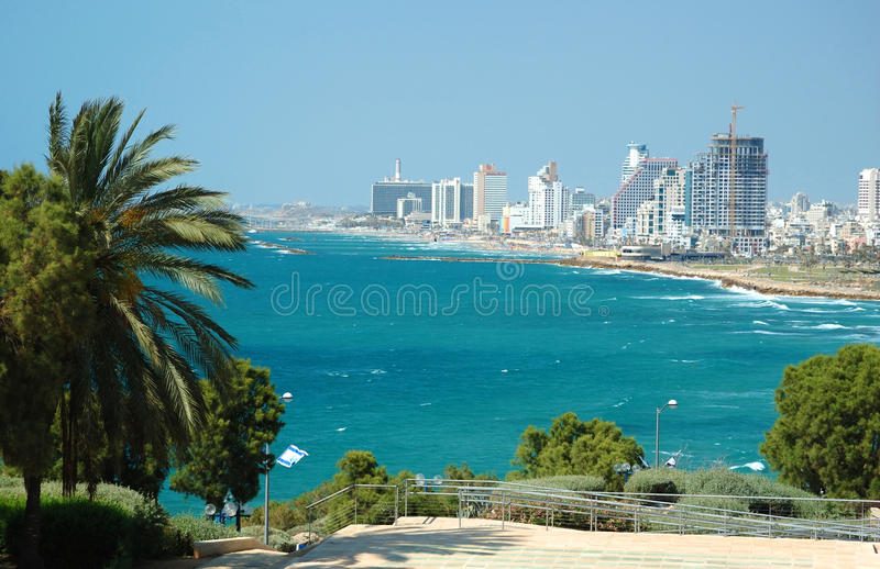 View of Tel-Aviv sea coast from Jaffa royalty free stock photography