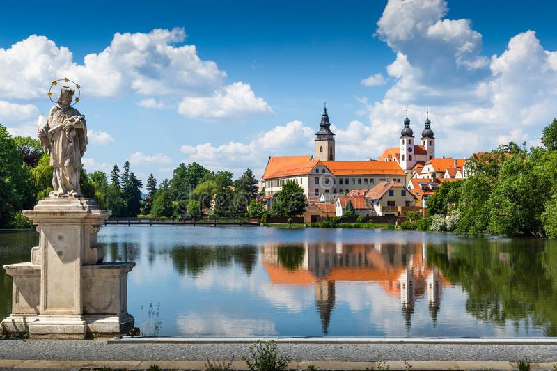 View of Telc across pond with reflections, Unesco world heritage site, South Moravia, Czech Republic.  royalty free stock images
