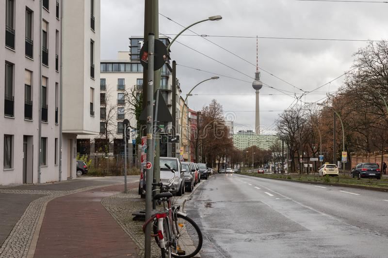 View of the Television tower from Landsberger Allee. Berlin, Germany-December 09, 2018: view of the television tower from Landsberger Allee royalty free stock photos
