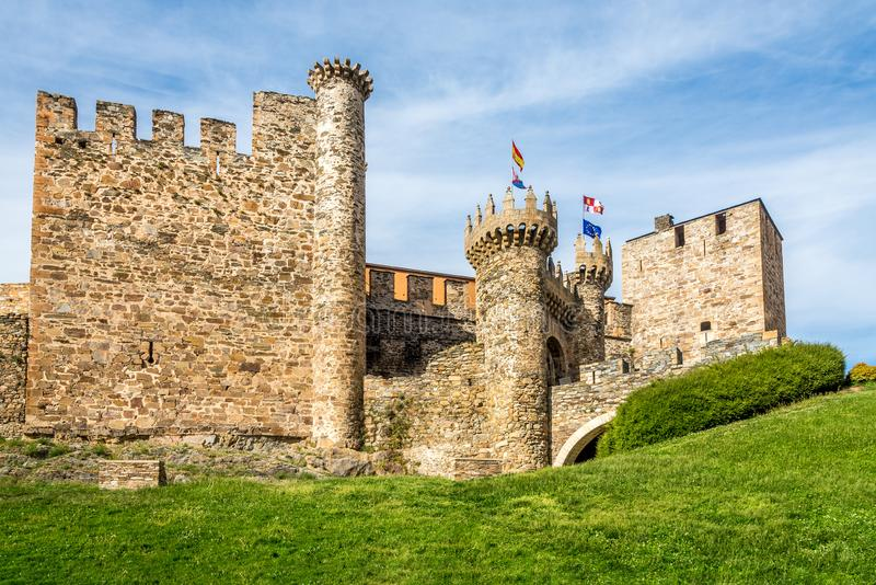 View at the Templar Castle, built in the 12th century in Ponferrada - Spain. View at the Templar Castle, built in the 12th century in Ponferrada, Spain stock photo