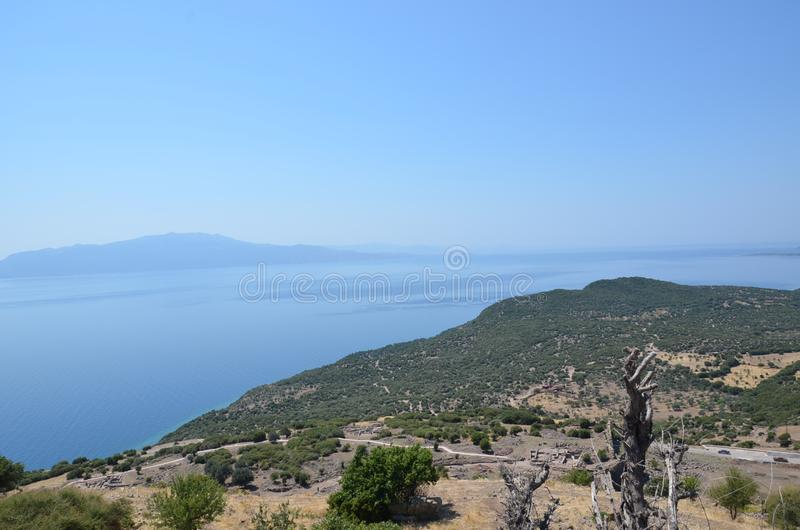 In view of the temple of Athena in Assos, Canakkale, Turkey. Where stone was used frequently andesite royalty free stock photos