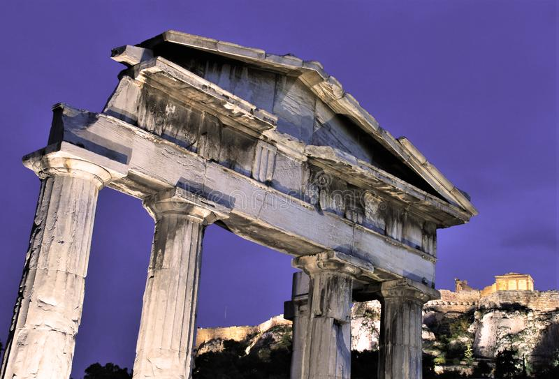 Temple in  the Acropolis  of Athens in  Greece. View of a Temple iner the Acropolis of Athens in Greece royalty free stock photos