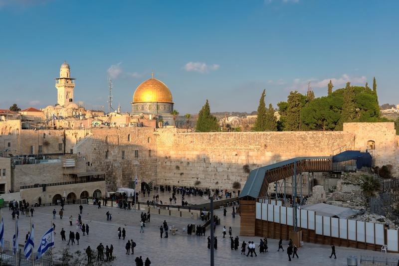 Western Wall in Jerusalem, Israel. A view of Temple Mount in the old city of Jerusalem, including the Western Wall and golden Dome of the Rock, packed with royalty free stock images