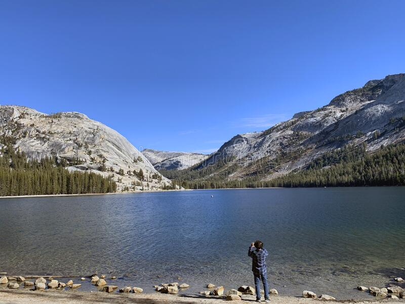 The beautiful Tenaya Lake located on the Tioga Pass, the road through Yosemite National Park royalty free stock image