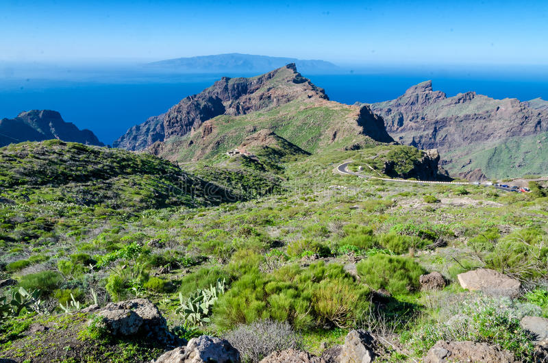 View from Tenerife to La Gomera. On the Canary Islands stock photos