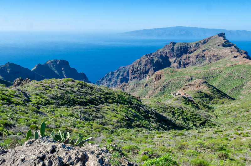 View from Tenerife to La Gomera. On the Canary Islands stock images