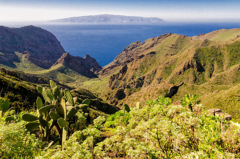 View from Tenerife to La Gomera. On the Canary Islands royalty free stock photo