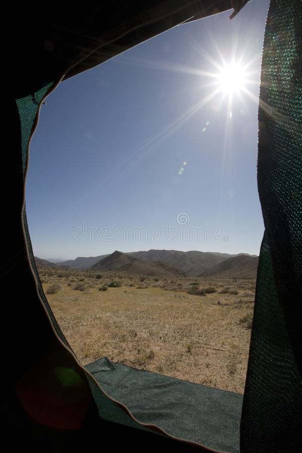 View from a tent. stock images