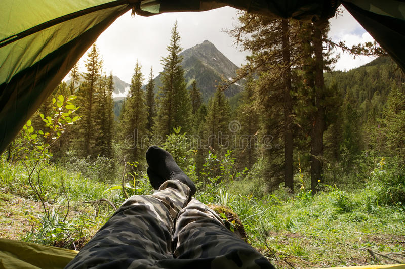 The view from the tent looked outwards royalty free stock photos