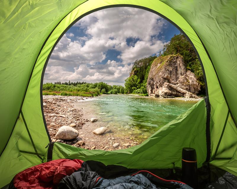 View from tent to Bialka river in the pieniny mountains. Europe stock images