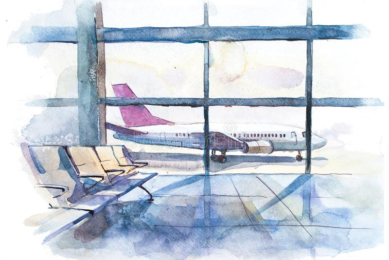 View from the terminal to the takeoff field with airplane. Airport hall interior. View from the terminal to the takeoff field with airplane. Airport hall royalty free illustration