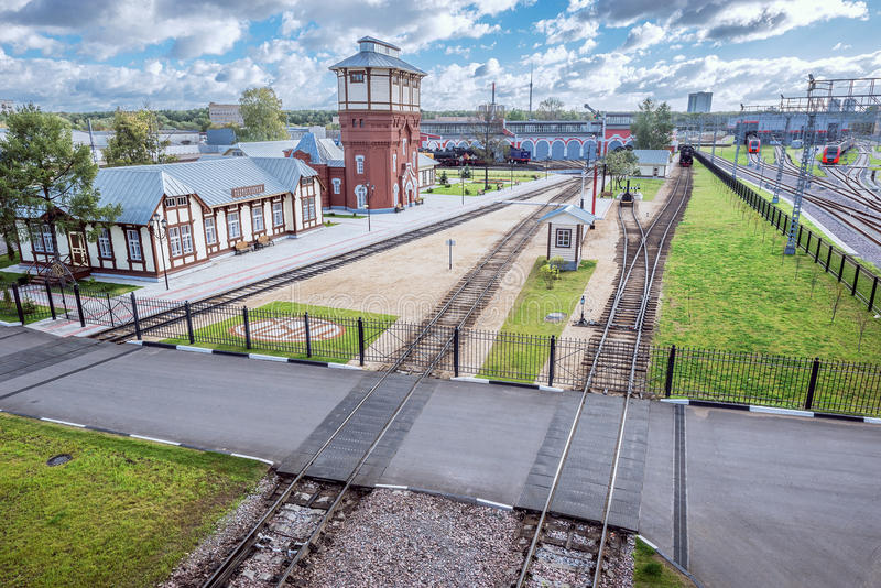 View of the territory of railway museum. royalty free stock image