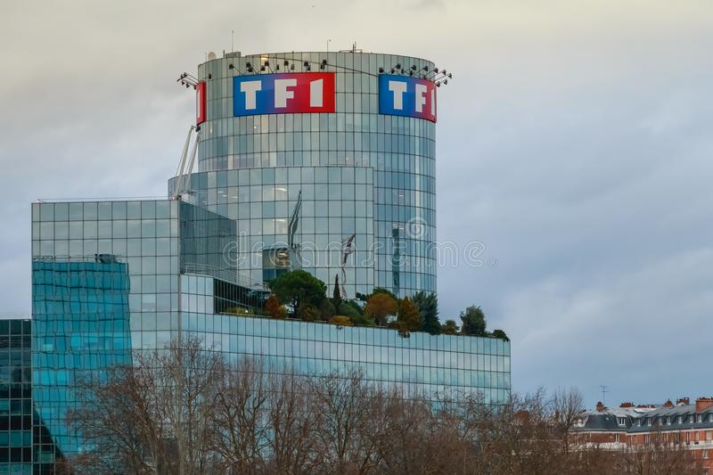 View of the TF1 tower on a winter day royalty free stock image
