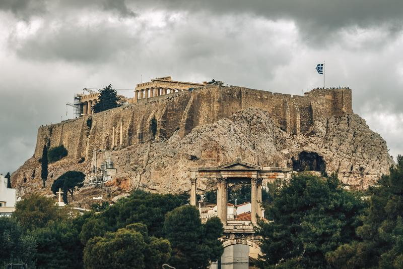 Acropolis and the Arch of Hadrian Hadrian`s Gate - Athens - Greece stock photography